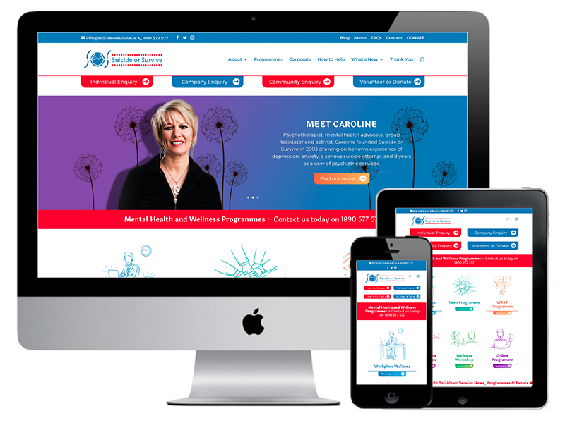 Suicide or Survive Charity website design Dublin
