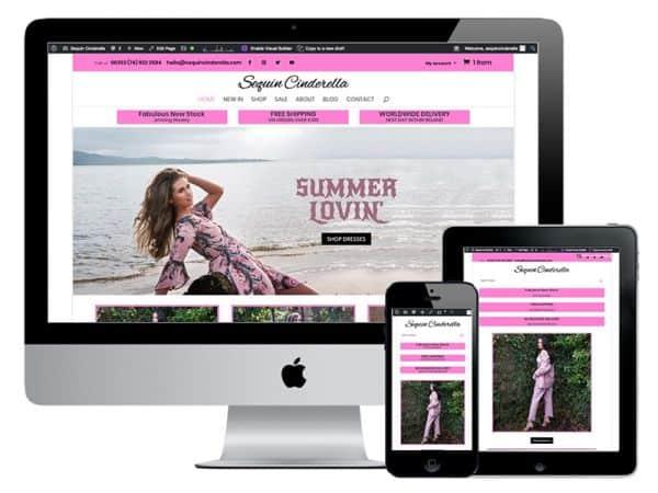 Sequin Cinderella eCommerce website design